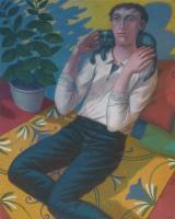 """""""Giovane uomo con gatto"""" - 2007 (Olio su tela cm.80x100)"""
