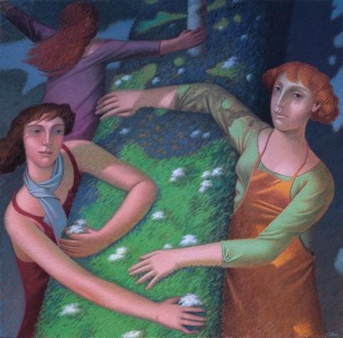 """""""La potatura"""" - 2007 (Olio su tela cm.100x120)"""