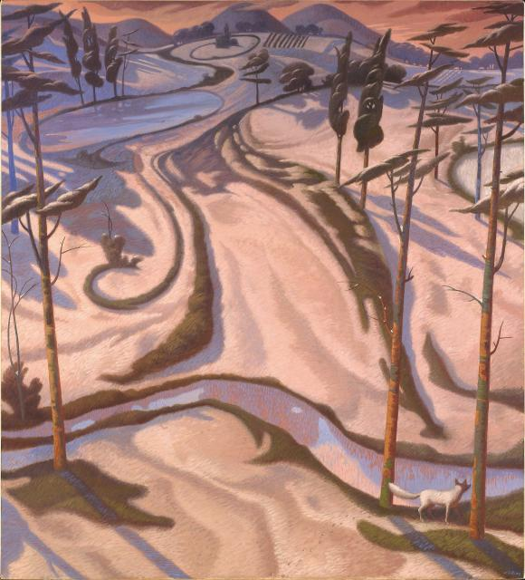 """Tramonto invernale"" - (Olio su tela cm130x145)"