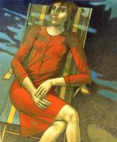 """""""Giovane in rosso"""" - 2004 (Tecnica mista cm.100x120)"""