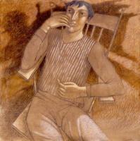 """Uomo seduto"" - 2003 (tecnica mista cm. 100x100)"