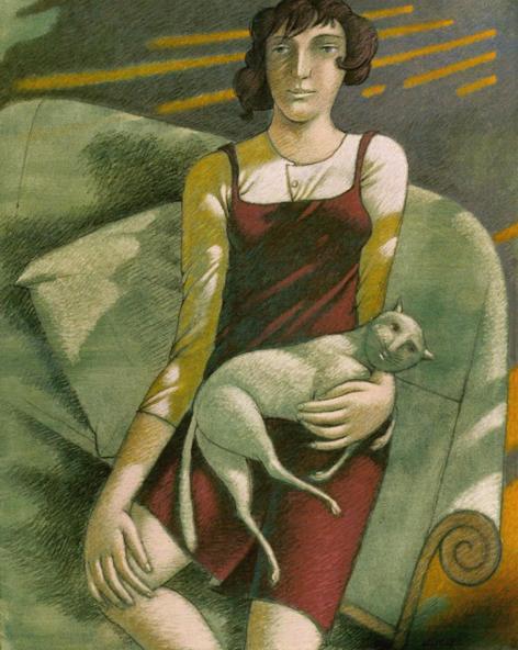 """""""Giovane con gatto"""" - 2006 (Tecnica mista cm.80x100)"""